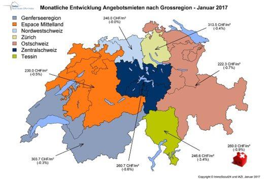 Monatliche Entwicklung Angebotsmieten nach Grossregion - Januar 2017 (Bild: ImmoScout24 und IAZI)