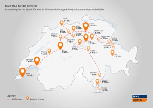 Miet-Map für die Schweiz (Bild: Scout24 Schweiz AG)