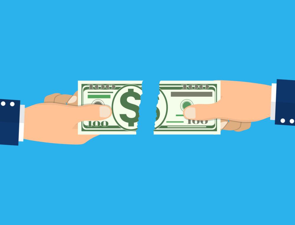 Geschäftsmann Hände zerreißt Geldschein in zwei Teile. Vektor-Illustration im flachen Stil