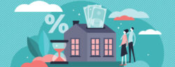 Mortgage,Vector,Illustration.,Flat,Tiny,House,Purchase,Debt,Persons,Concept.